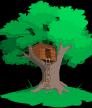 oak tree with tree house