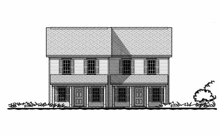 Colonial Duplex Elev edit - GMF+ Architects - House Plans GMF+ ...