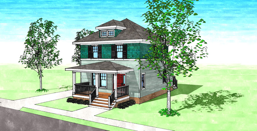 The sears four square gmf architects house plans gmf for Four square home designs