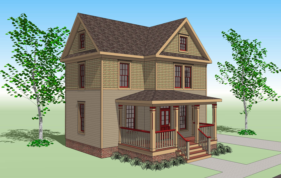The sears victorian gmf architects house plans for Victorian townhouse plans