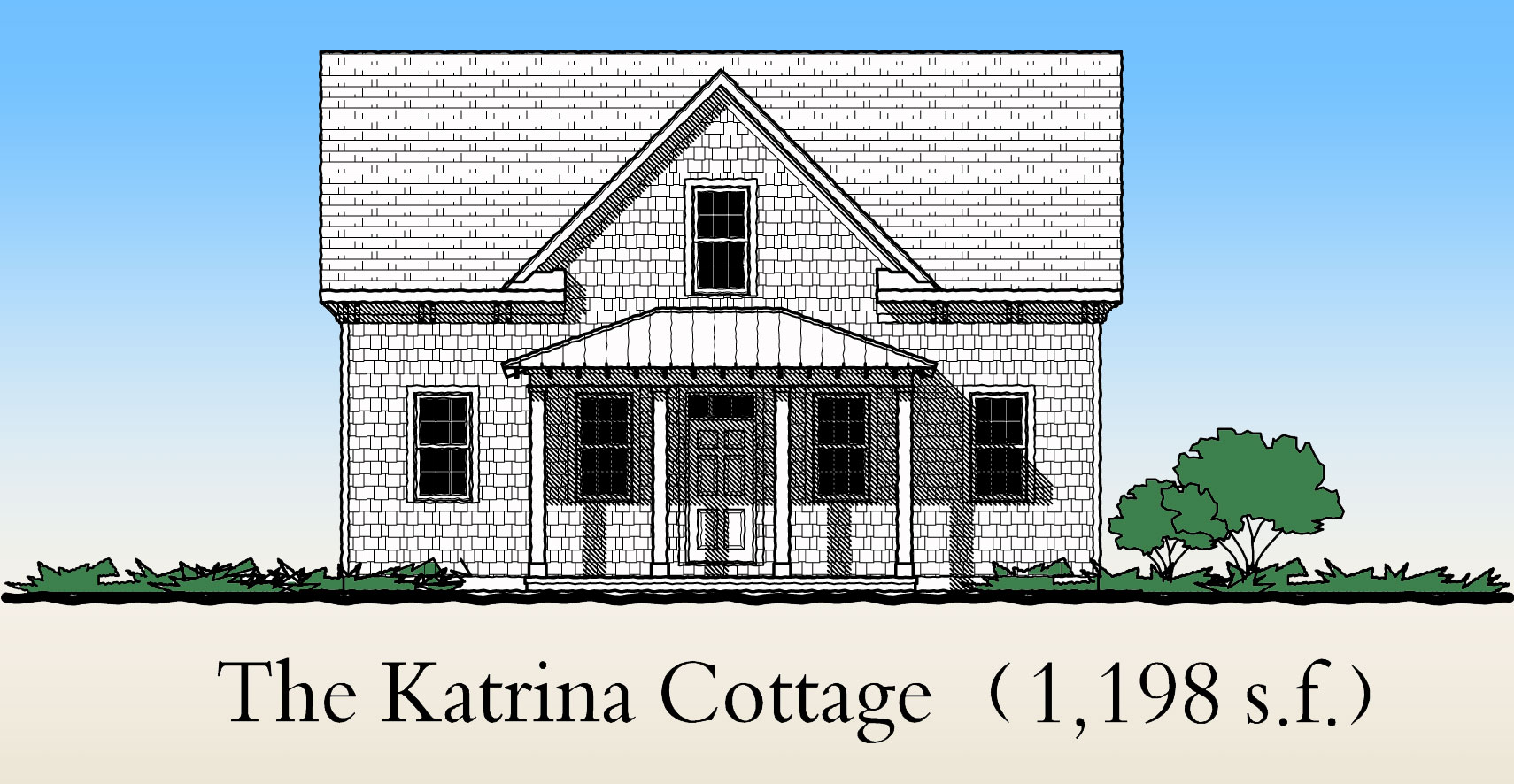 Gmf katrina front color gmf architects house plans for Katrina cottages prices